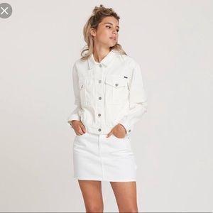 Volcom white denim jacket & skirt